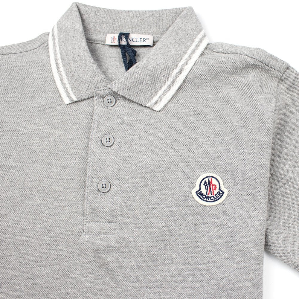 804fb5c3 Moncler Junior Twin Tipped Short Sleeve Polo Grey/White | ONU