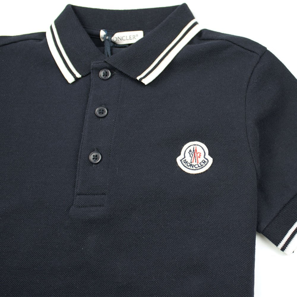 5f69fdd4 Moncler Junior Twin Tipped Short Sleeve Polo Navy/White | ONU
