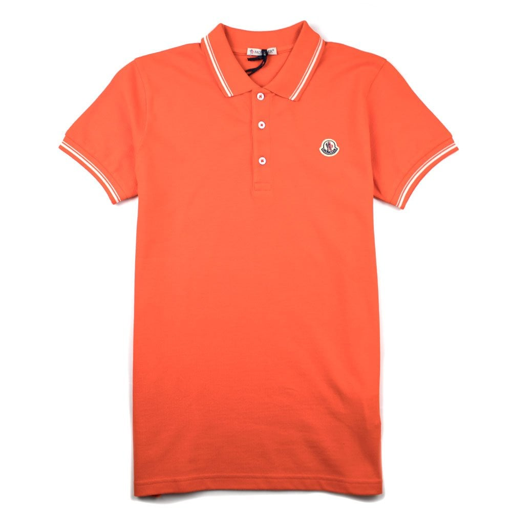 1b88d736 Moncler Junior Twin Tipped Short Sleeve Polo Orange/White | ONU