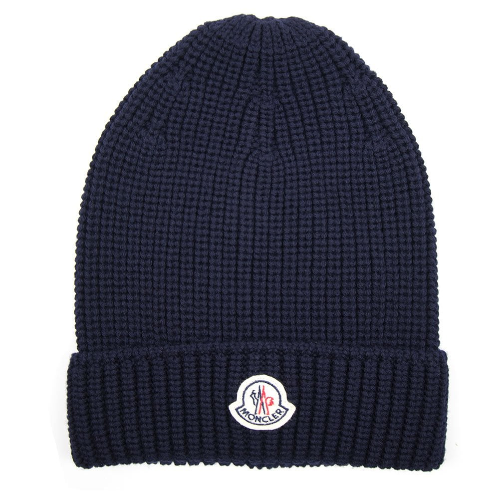 Moncler Ribbed Beanie Hat Navy Blue  baf8bf18c4a