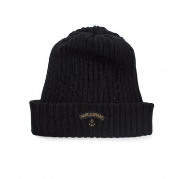 Paul and Shark Ribbed Knitted Logo Beanie Black 6e4c376024c