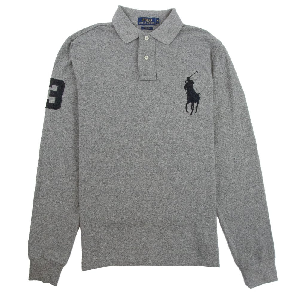 undefeated x purchase newest buy good Custom Fit Big Pony Long Sleeve Polo Grey