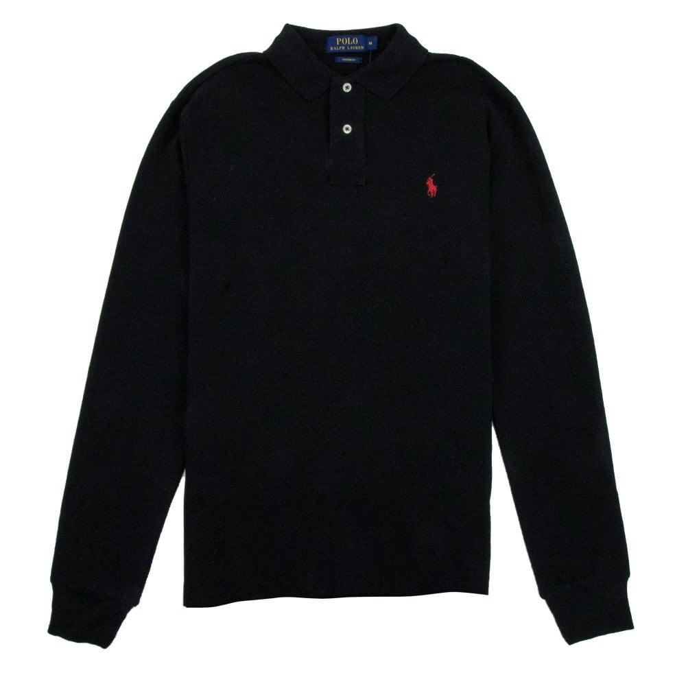 Black Custom Long Fit Sleeve Polo bgY6yv7f