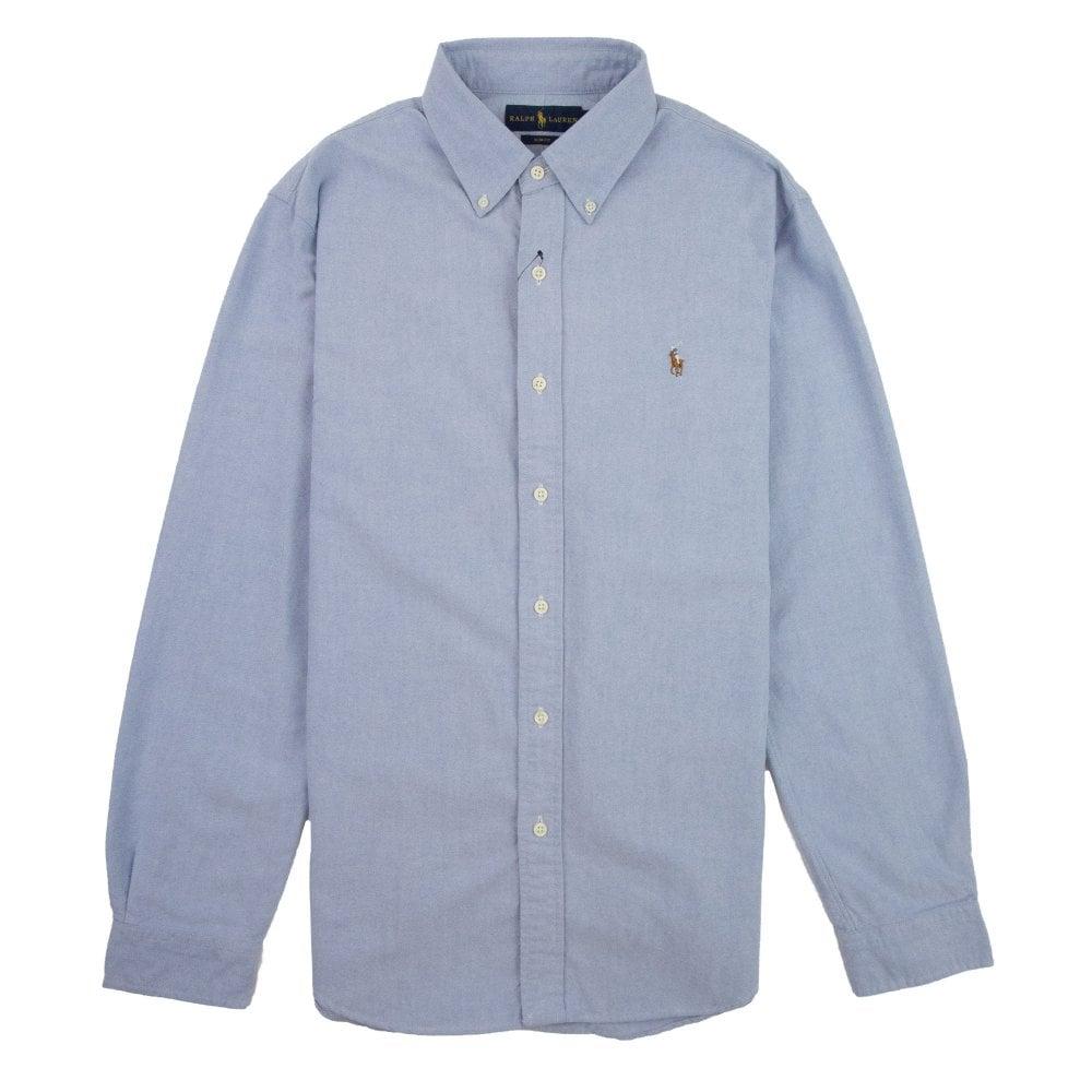 Slim Blue Button Long Sleeve Fit Collar Shirt 0nO8Pkw