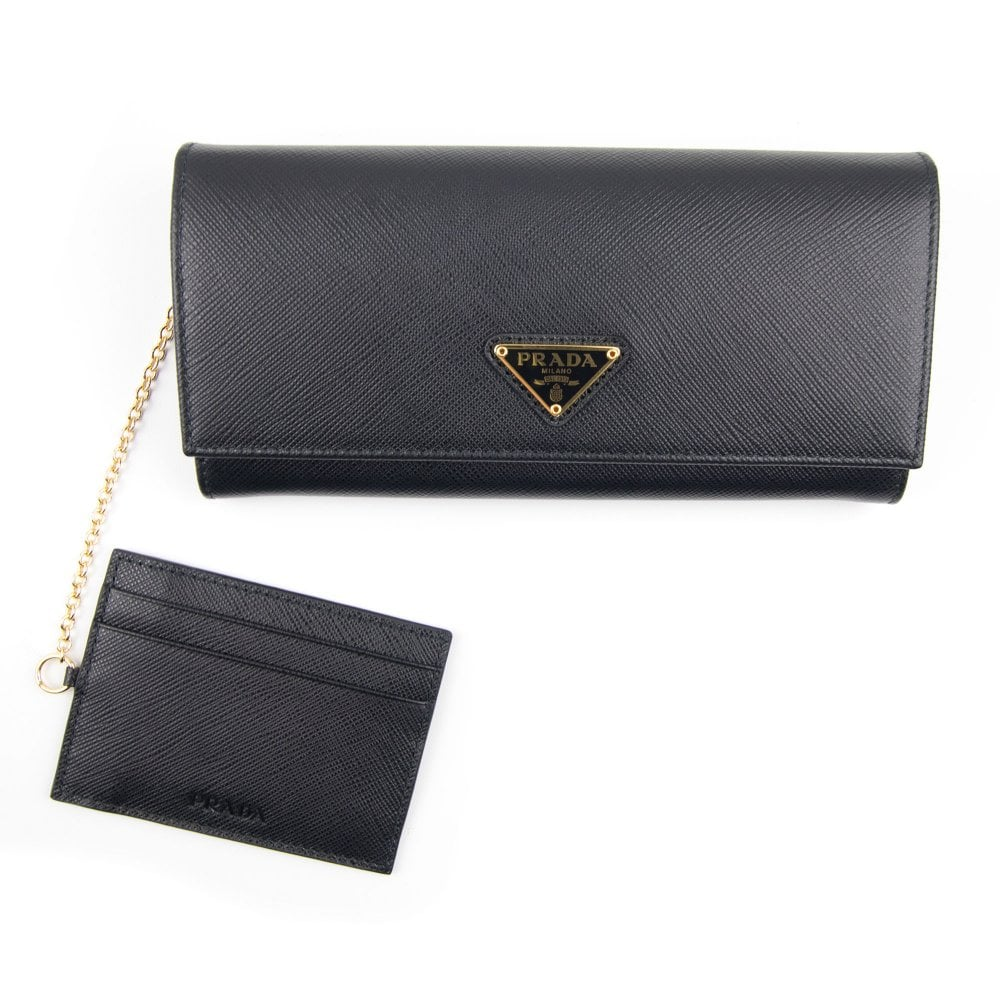 54f7d52b7a1 Prada Ladies Leather Purse Wallet Black/gold | ONU