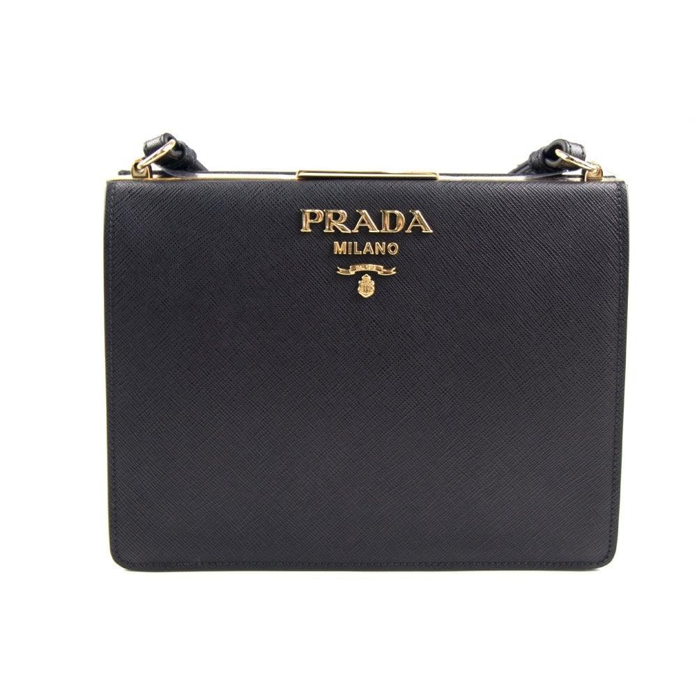 2cc3b6f4029 Prada Light Frame Saffiano Leather Bag Black | ONU