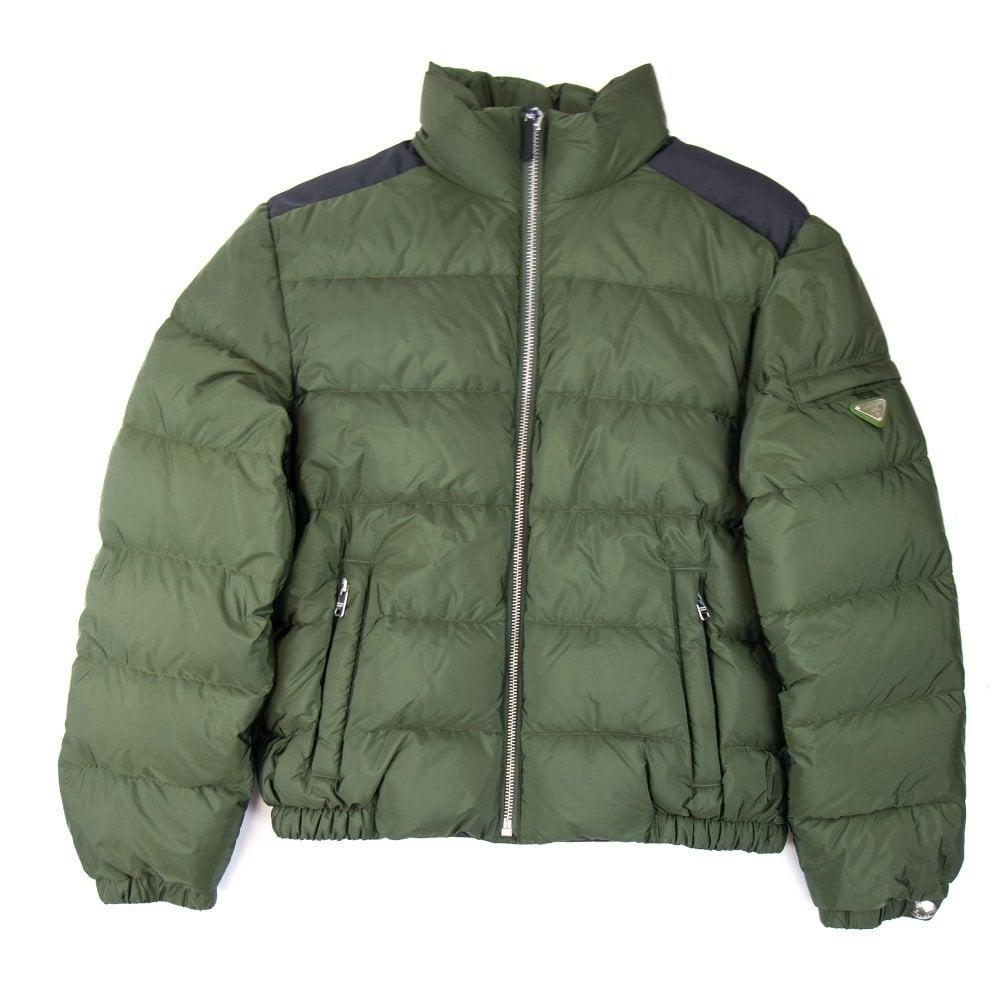 check out 9e5d2 7b620 Piumino Nylon Piuma Puffer Jacket Olive/Nero