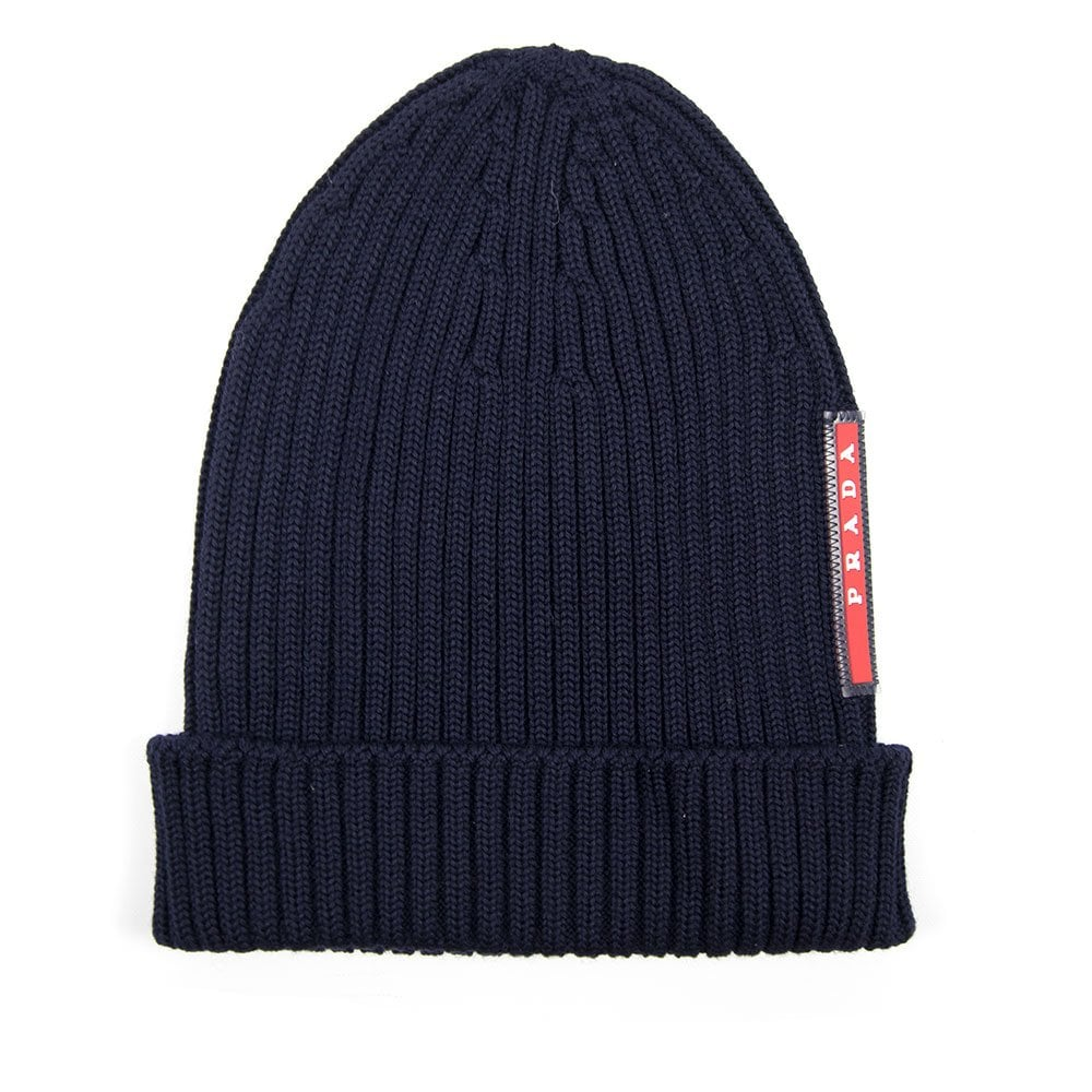 Prada Ribbed Beanie Hat Navy Blue  fdf8c752e