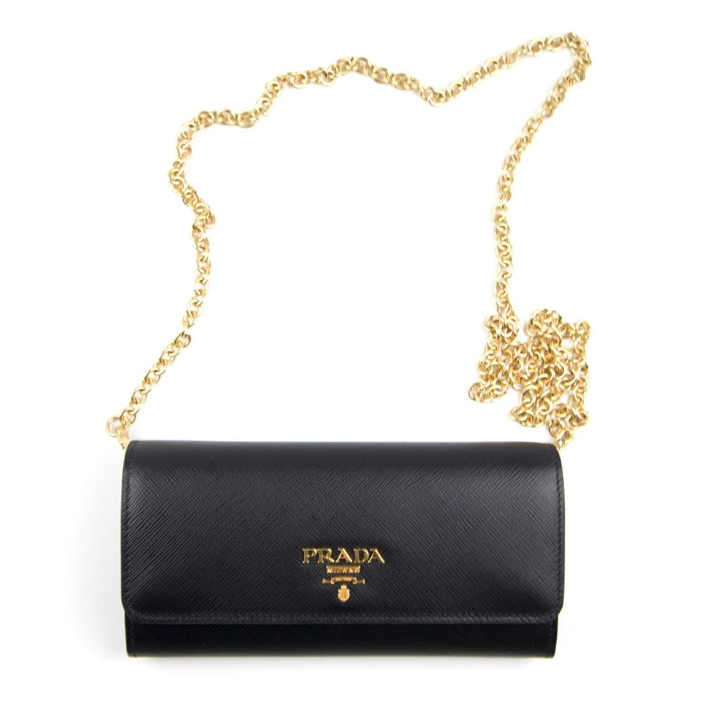 f22d308250ef Prada Saffiano Leather Mini-Bag Black | ONU
