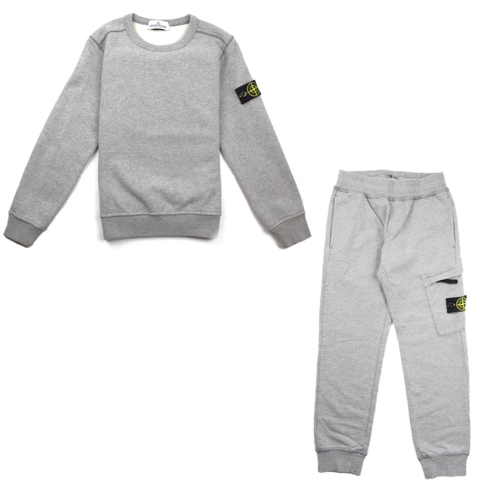 Stone Island Junior Crewneck Sweatshirt Tracksuit Grey Onu