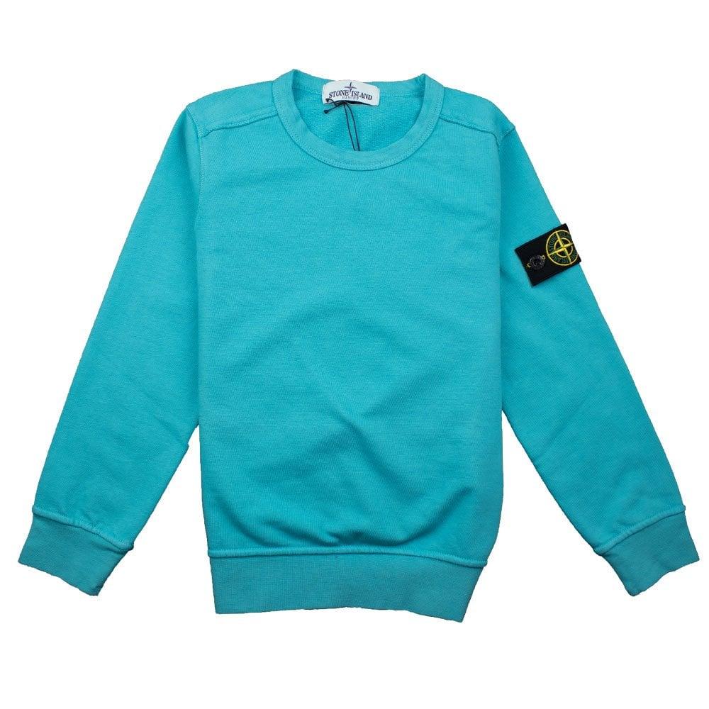 Stone Island Junior Crewneck Sweatshirt Turquoise Onu