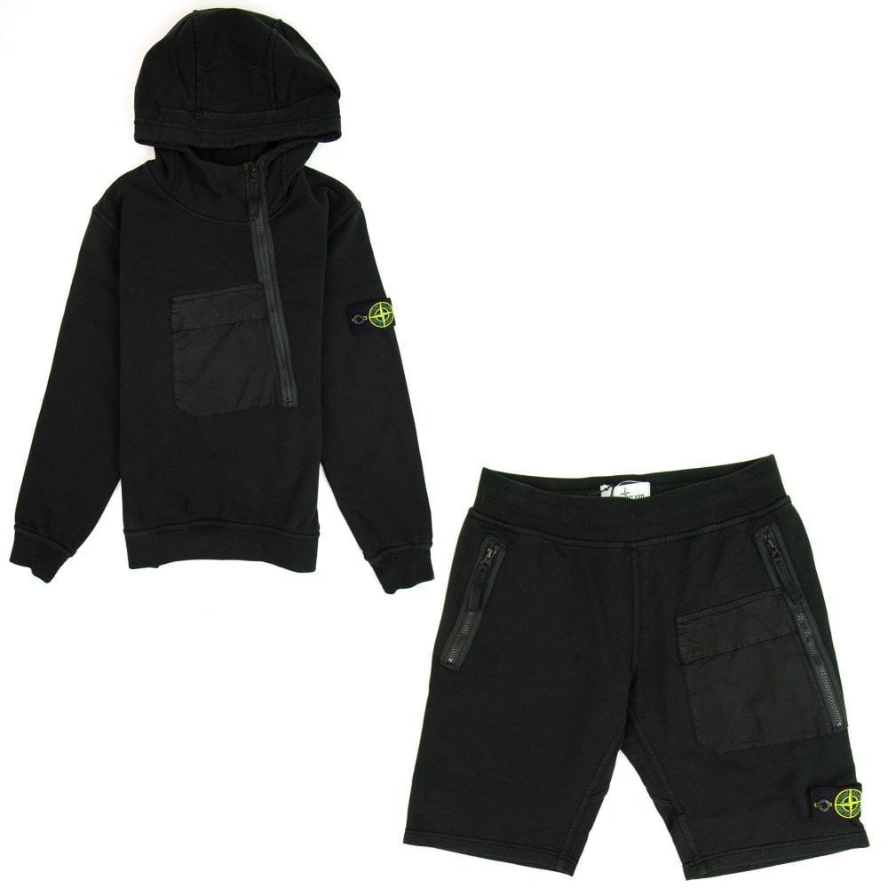 Stone Island Junior Diagonal Zip Hooded Sweatshirt Black V0029