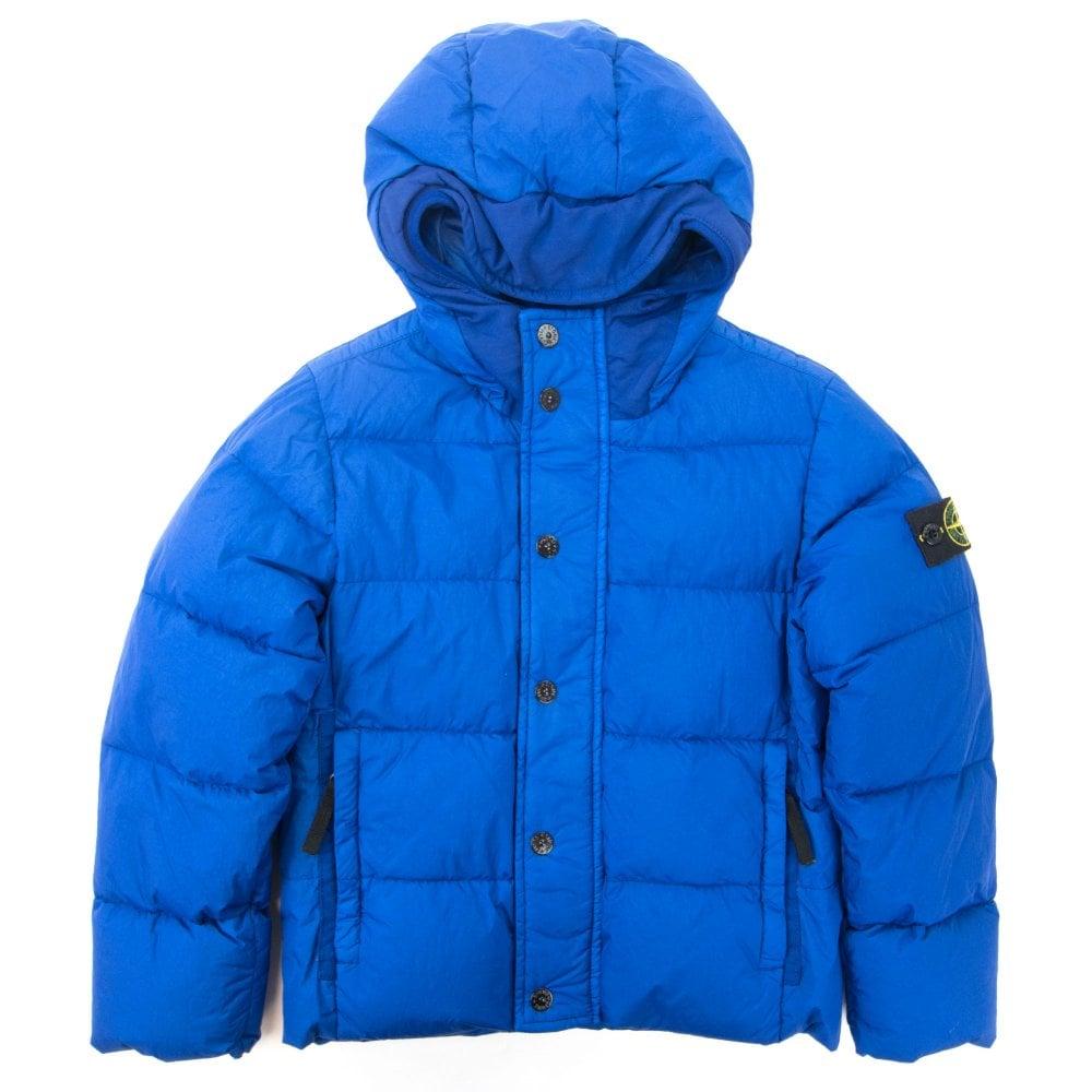 Blue Stone Island hooded down jacket