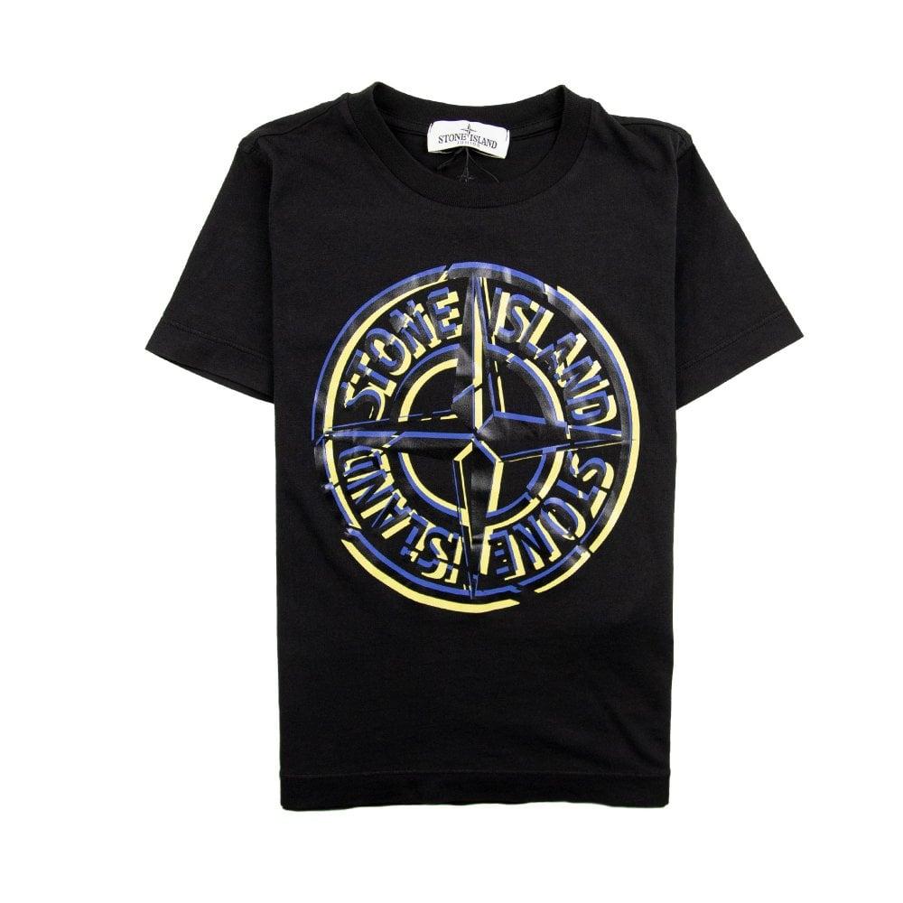 3040584bfbce Stone Island Junior Large Compass Logo T-Shirt Black