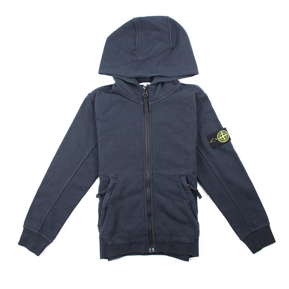 Stone Island Junior Sweatshirt Full Zip Hoodie navy blue Age 12-13