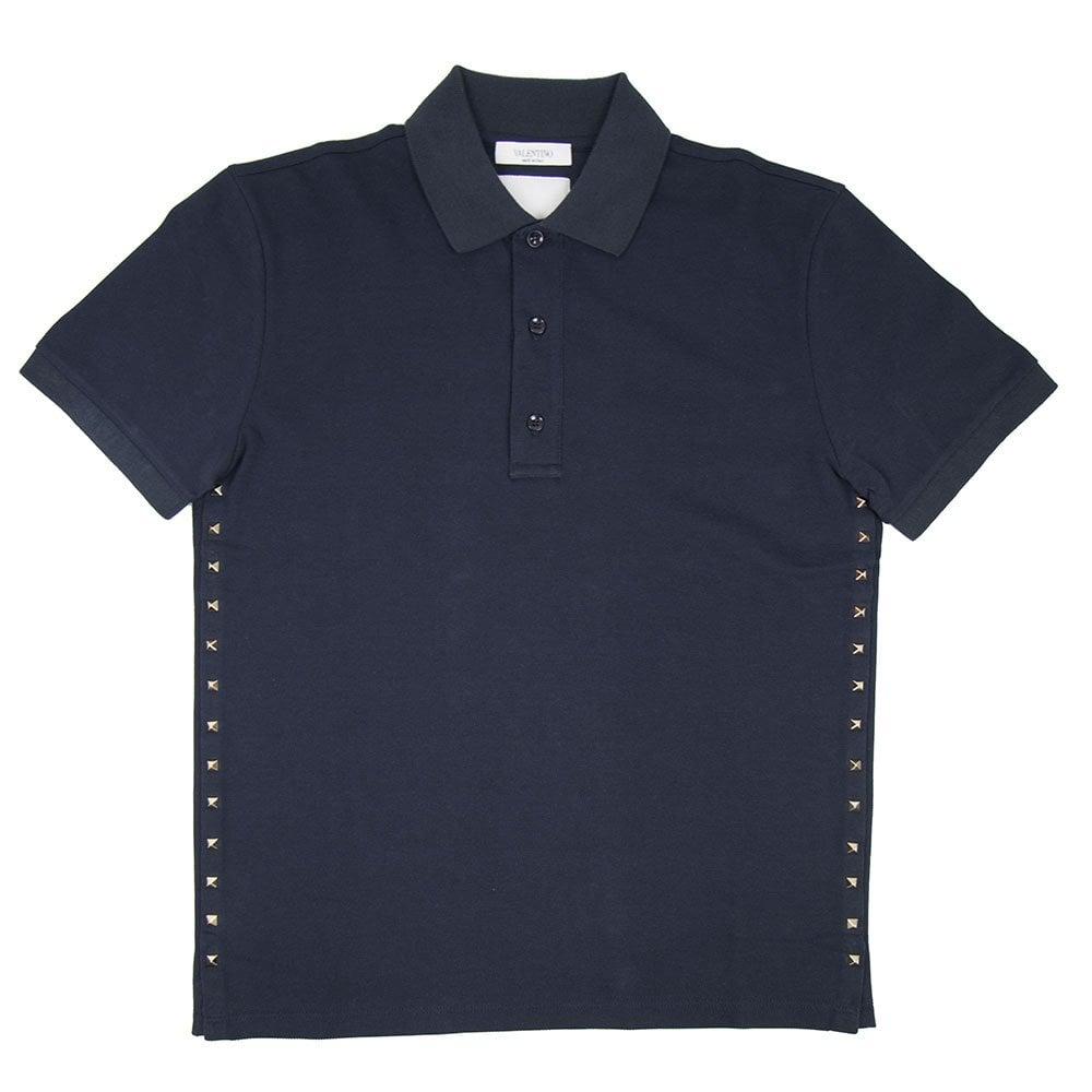 adc7c83a Valentino Rock Stud Polo Shirt Navy Blue | ONU