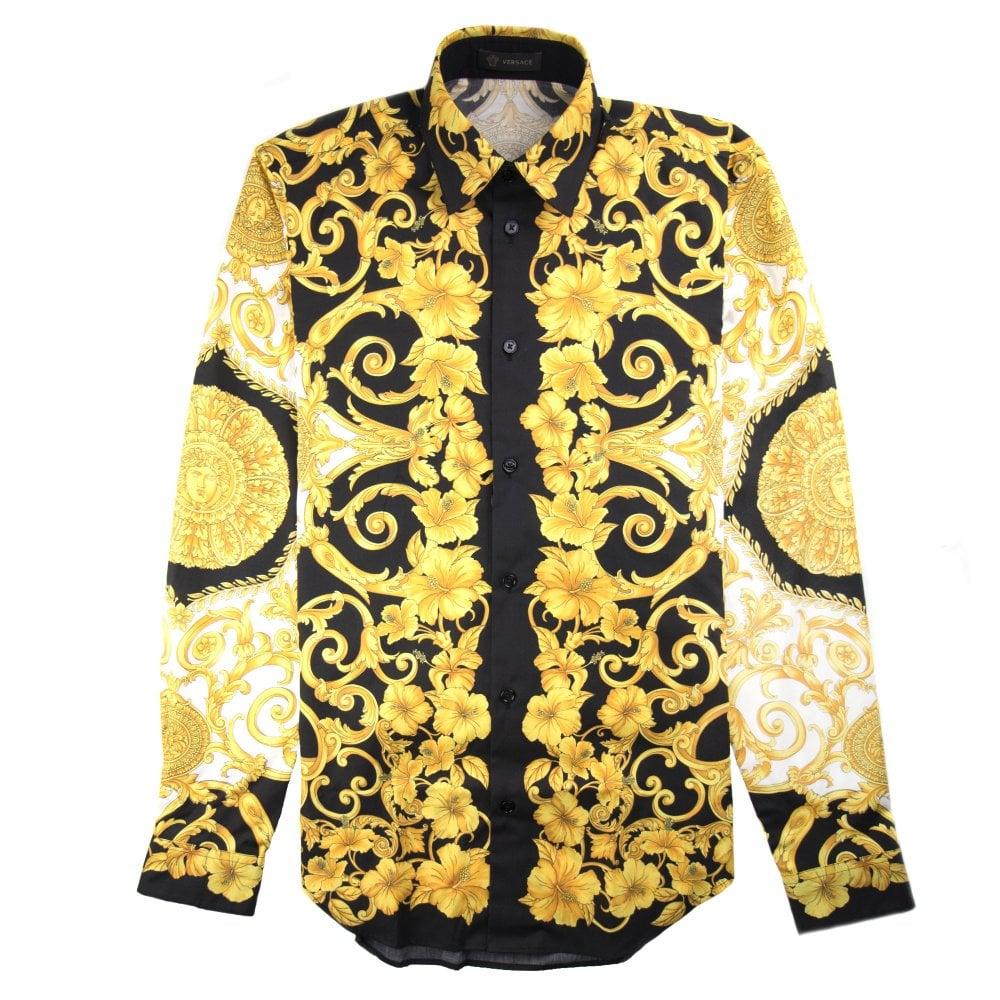 7c3b45f4c2 Hibiscus Print Shirt Black/Gold