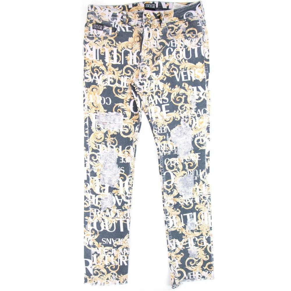 af121aef34 Logo Baroque Print Skinny Fit Jeans Black