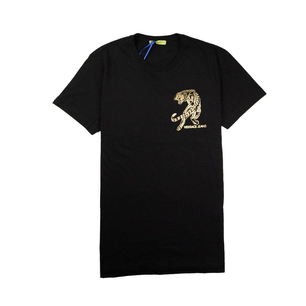 0bfd04cc2 Versace Jeans Foil Tiger Chest Logo T-Shirt Black/Gold | ONU