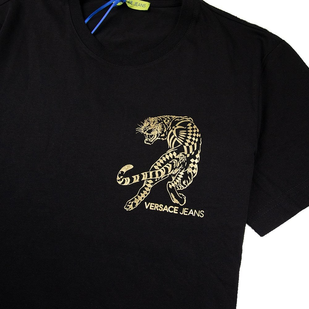 ff83aa093 Versace Jeans Foil Tiger Chest Logo T-Shirt Black/Gold | ONU