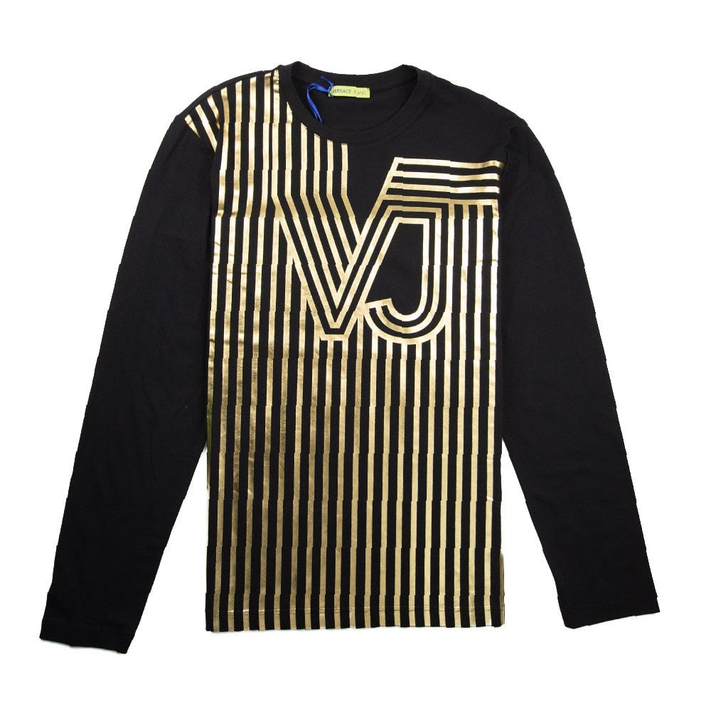 d0f6dfe4 Versace Jeans Foil VJ Line Logo Long Sleeve T-Shirt Black | ONU