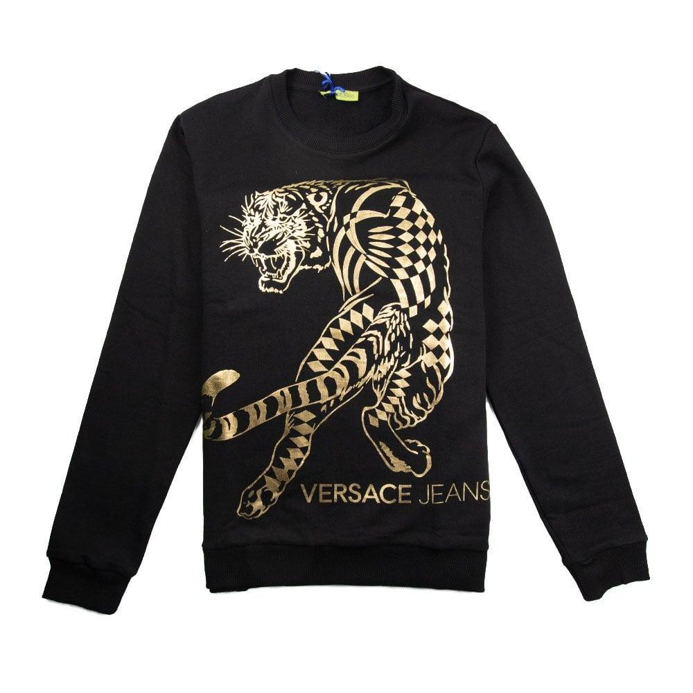 7c4fc7f7ed00 Versace Jeans Full Foil Tiger Sweatshirt Black