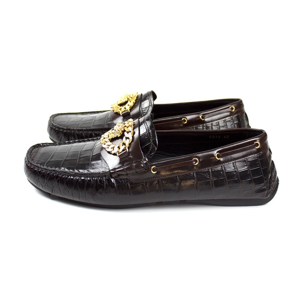b45424c9cf Mock Croc Medusa Chain Loafers Brown