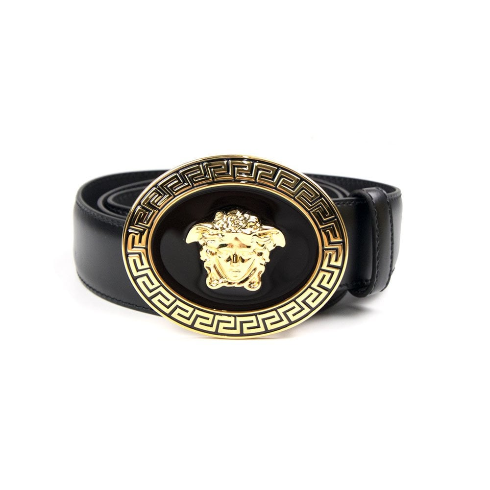 Versace Versace Oval Medusa Head Belt Black Gold